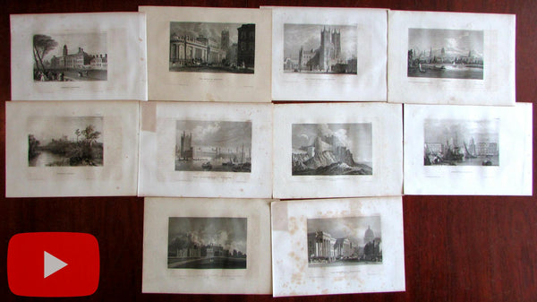 London England c.1840-50 Lot x 10 engraved views monuments tourist sites Greenwich