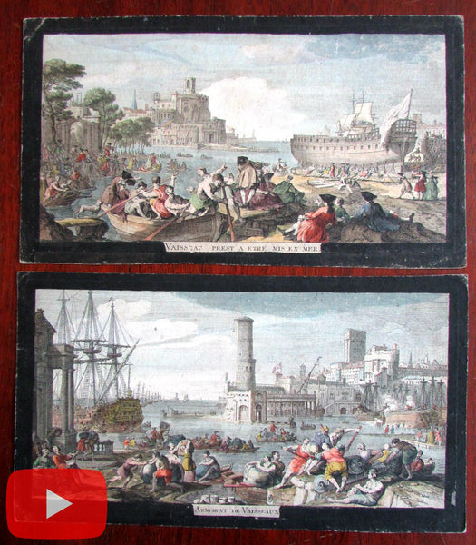 Naval Nautical Tall Ships c.1750-60 pair of two rare vue d'optique prints architecture
