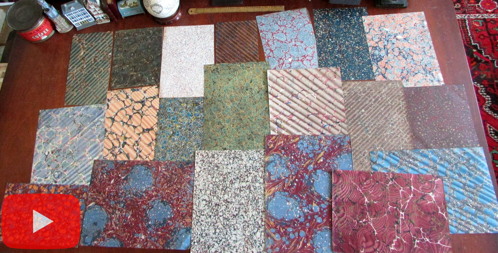 Marbled Paper of 19th century lot x 20 sheets all different very nice group