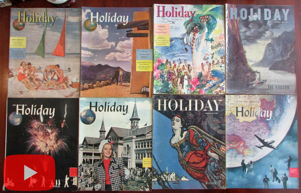 Holiday travel magazine 1946-9 color covers wonderful lot 8 issues many great ads