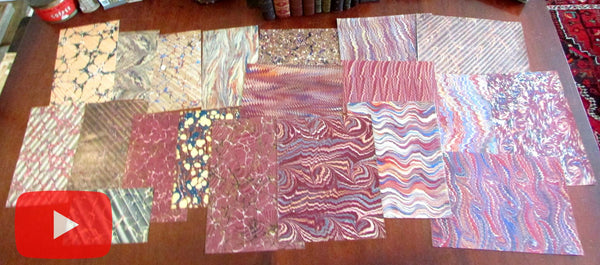 Marbled Paper from 19th century 20 pleasing sheets c.1835-90 nice group all different