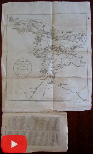 Ireland Cork Harbor 1782 Lodge rare periodical map charming details