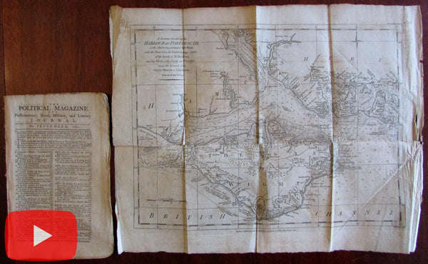 Isle of Wight rare map 1782 Political mag. Portsmouth England harbor coastal Diving Bell