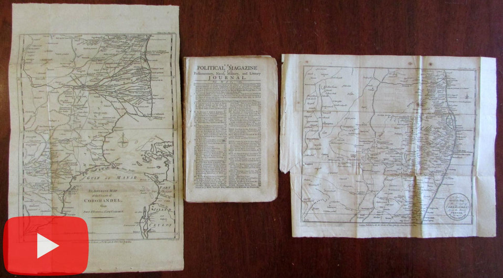 India Ceylon 2 rare maps 1782 British Political Magazine American Revolution War