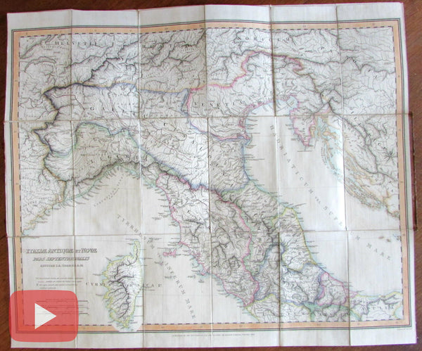Italia Italy ancient & modern 1825 Findlay Parker linen backed wall map huge