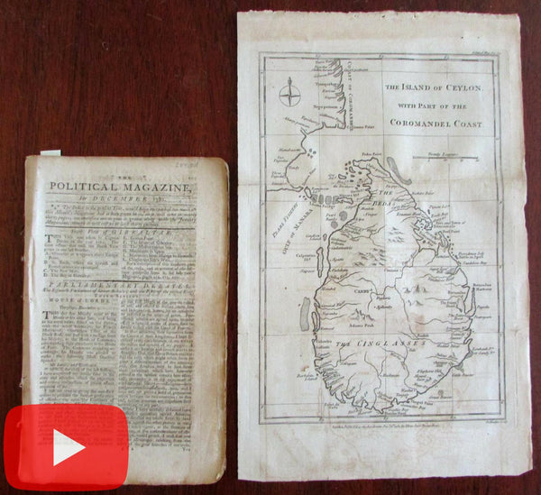 Ceylon island map India 1782 by Lodge rare Political magazine w/ article