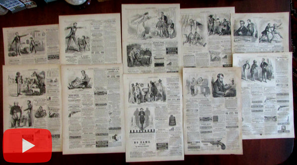 Abraham Lincoln 1863-65 Lot x 10 political cartoons Popular Press Harpers Weekly