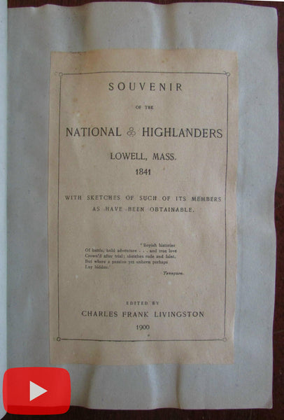 Military National Highlanders Lowell Mass 1841 one-of-kind book souvenir photos
