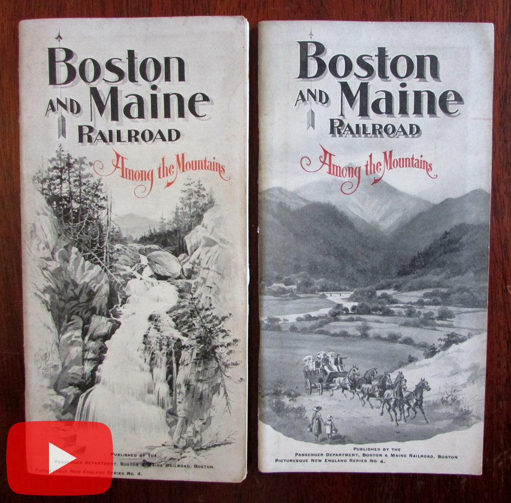 Mountains of New England Hampshire 1896 & 1903 B&M RR brochures w/ maps