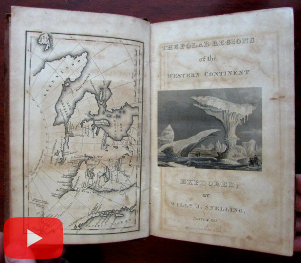 Polar Regions Exploration Whale Fisheries 1831 Snelling rare book illustrated map Boynton