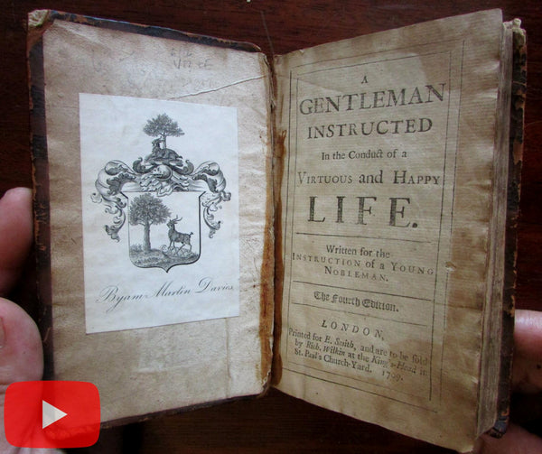 Life Instruction for Young Men & Ladies 1708-9 leather book Darrell Advice in Conduct
