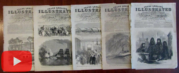 American Civil War newspapers Leslie's illustrated 1862-63 Lot 5 issues woodcuts