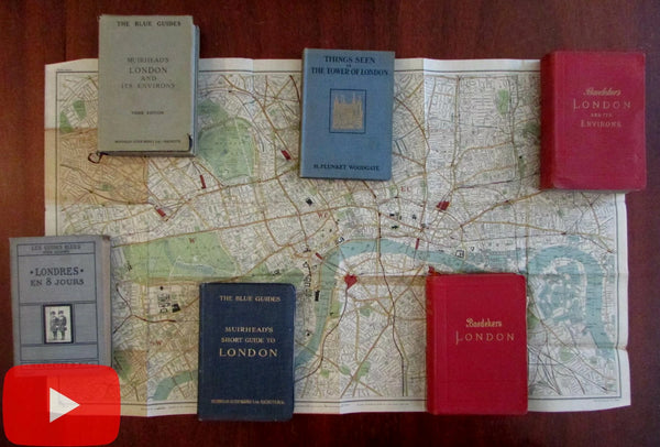 London England guidebooks 1912-27 lot x 6 many color detailed maps plans