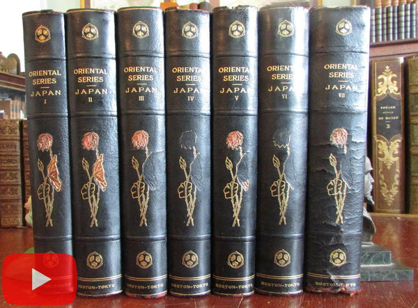 Japan History Arts Literature Customs Dress 1901 Capt. Brinkley 7 vol set illustrated