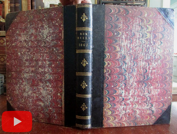 Bow Bells Literary Illustrated periodical 1867-8 London bound leather book