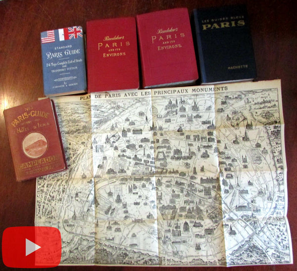 Paris guidebook 1894-1947 lot 5 different Baedeker Hotel guide Hachette Leconte