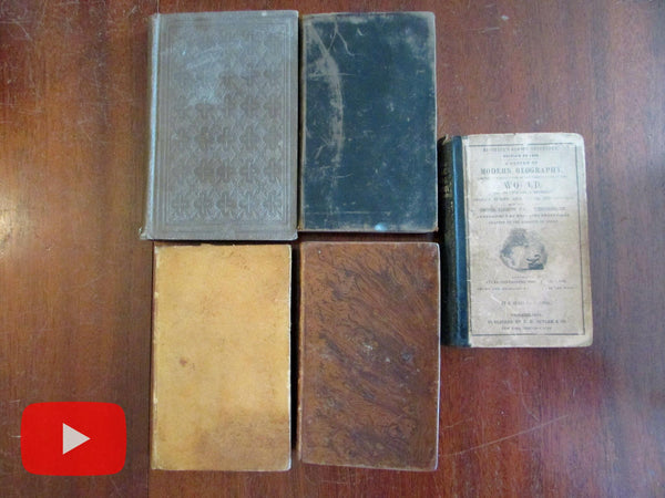 American Education 19th century lot 5 old books sciences geography botany philosophy