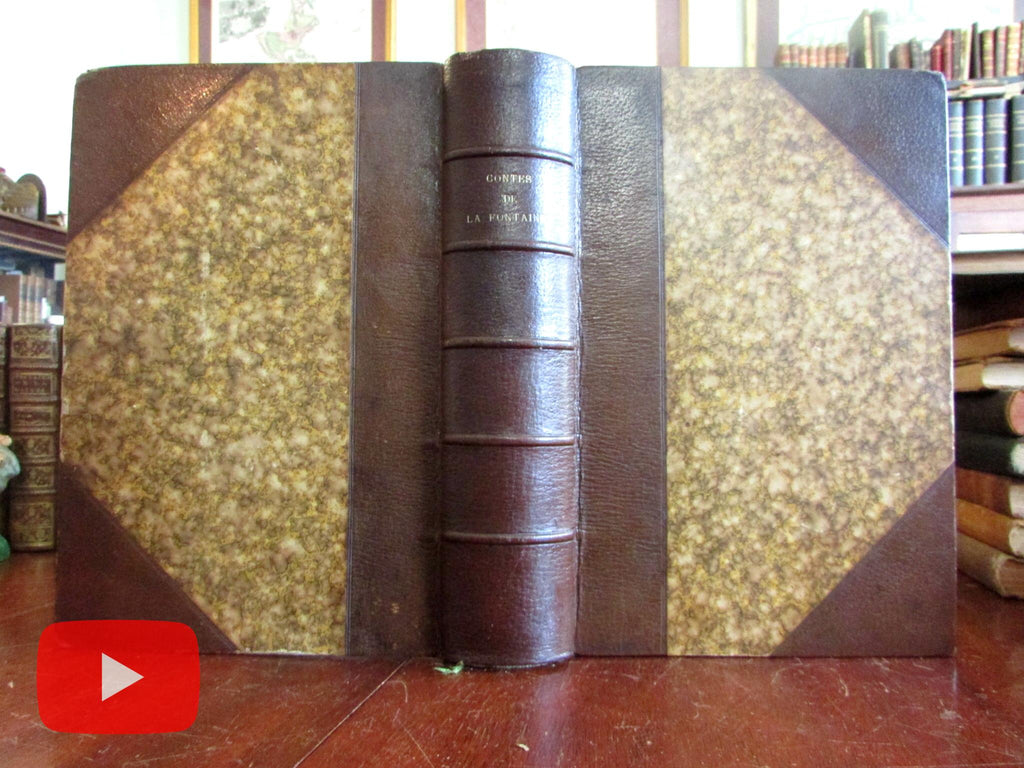 Fables of La Fontaine c.1870 Illustrated leather book woodcuts by famous artists