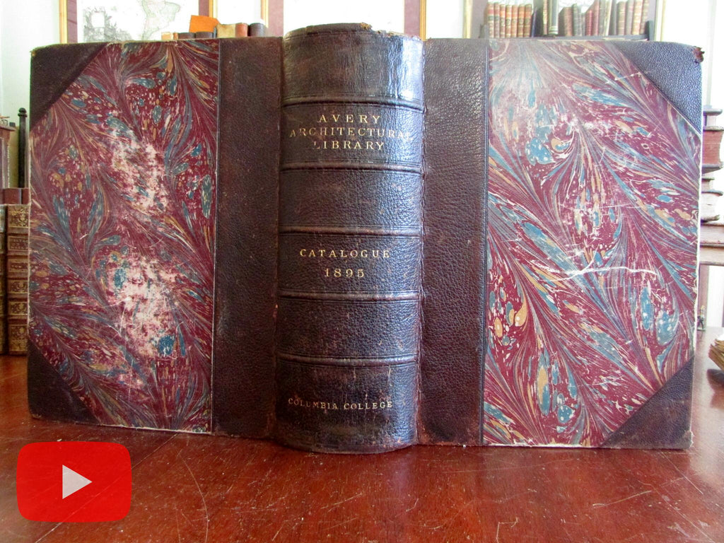 Architectural Library Catalogue 1895 Columbia Univ. Reference leather book