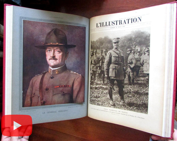 WWI L'Illustration 1918 complete year 48 issues in 4 leather books thousands images