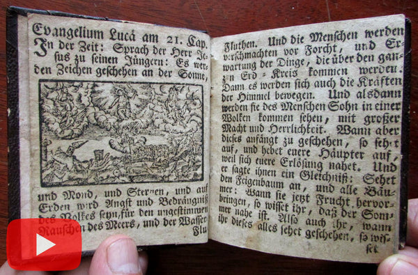 Woodcut illustrated book c.1700's small rare pocket sized devotional prayer book