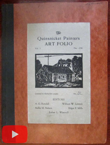 Quinsnicket R.I. Painters Art portfolio 1936 Dec. #31 of 35 copies original art woodcuts