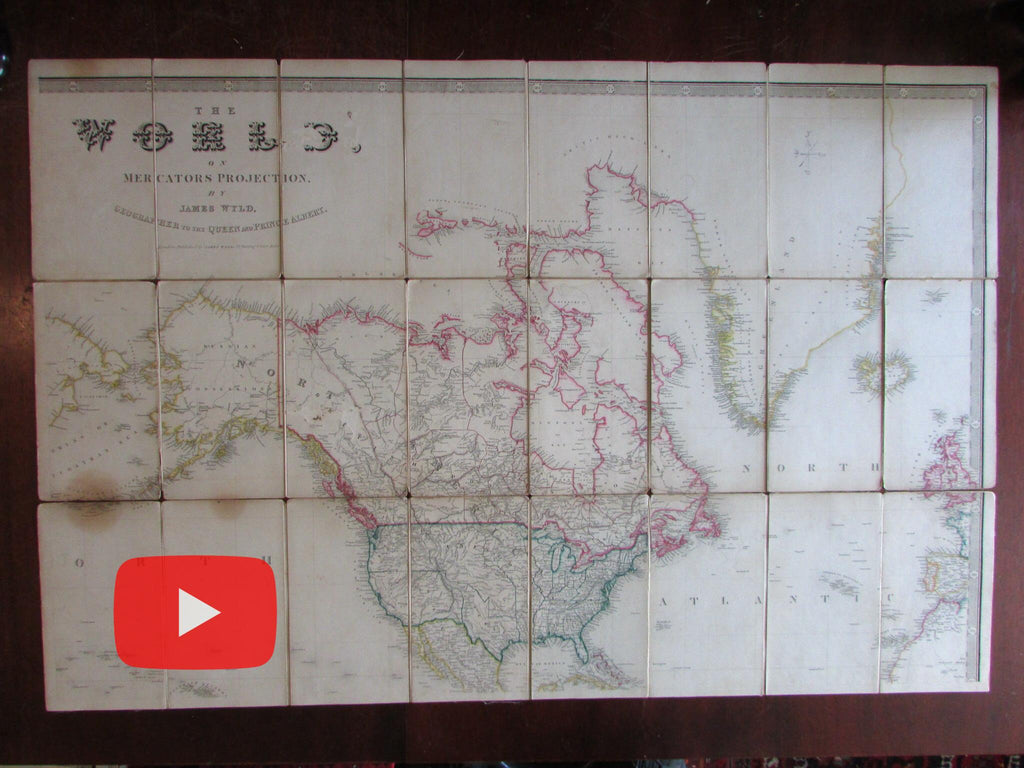 Texas as Republic wall map c.1848 Wyld 2 enormous linen backed folding maps