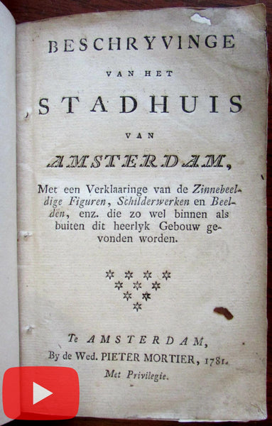 Amsterdam Stadhuis Dam square Royal Palace guide book 1781 Mortier 3 city views