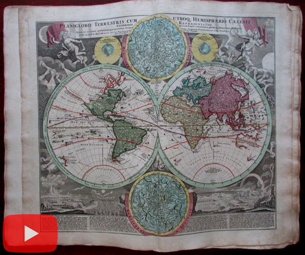 Homann World Atlas c.1740 Novus Minor complete 49 wonderful maps w/ cartouches