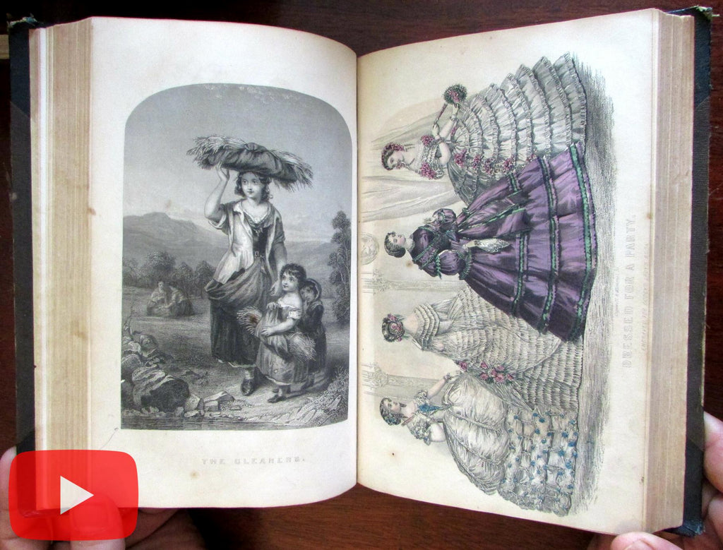Godey's Lady's Book 1860 Milwaukee binding leather book 6 issues fashion plates