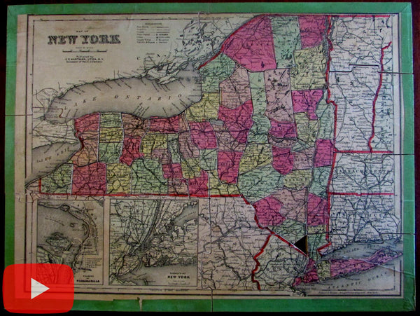 Clemens C.E. Hartman c.1893 New York state jigsaw puzzle advertising