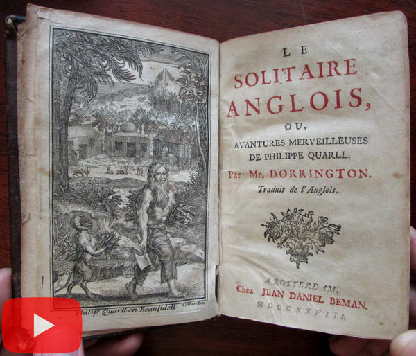 Solitary Englishman Philippe Quarll 1728 Dorrington scarce Dutch book