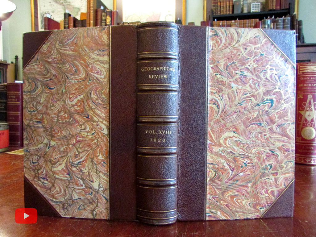 Geography 1928 Geographical Review fine leather book 4 issues w/ photos lg. maps