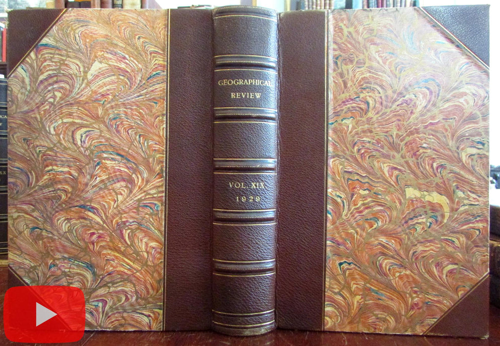Geographical Review 1929 Geography fine leather book 4 issues many photos maps