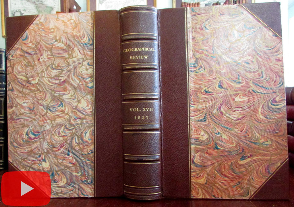 Geographical Review 1927 Geography beautiful leather book 4 issues many photos