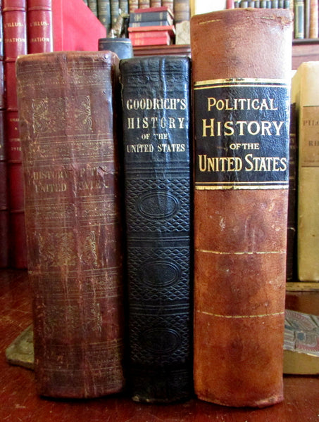 American History 1838-1888 United States lot x 3 leather illustrated books Goodrich