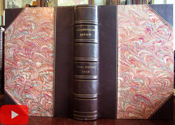 Geographical Review 1938 Geography fine leather book 4 issues w/ photos & maps
