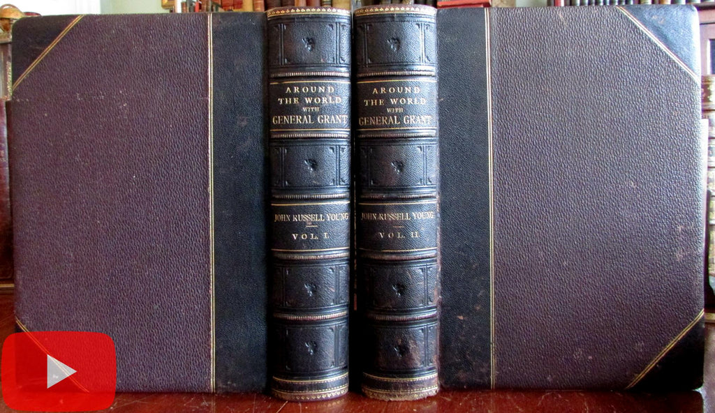 Around the World Journey 1879 President Grant travel 2 vol. leather set illustrated
