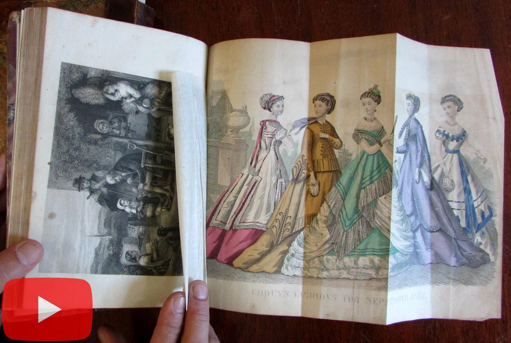 Godey's Lady's Book 1869 Year w/ hand color fashion plates 2 leather books
