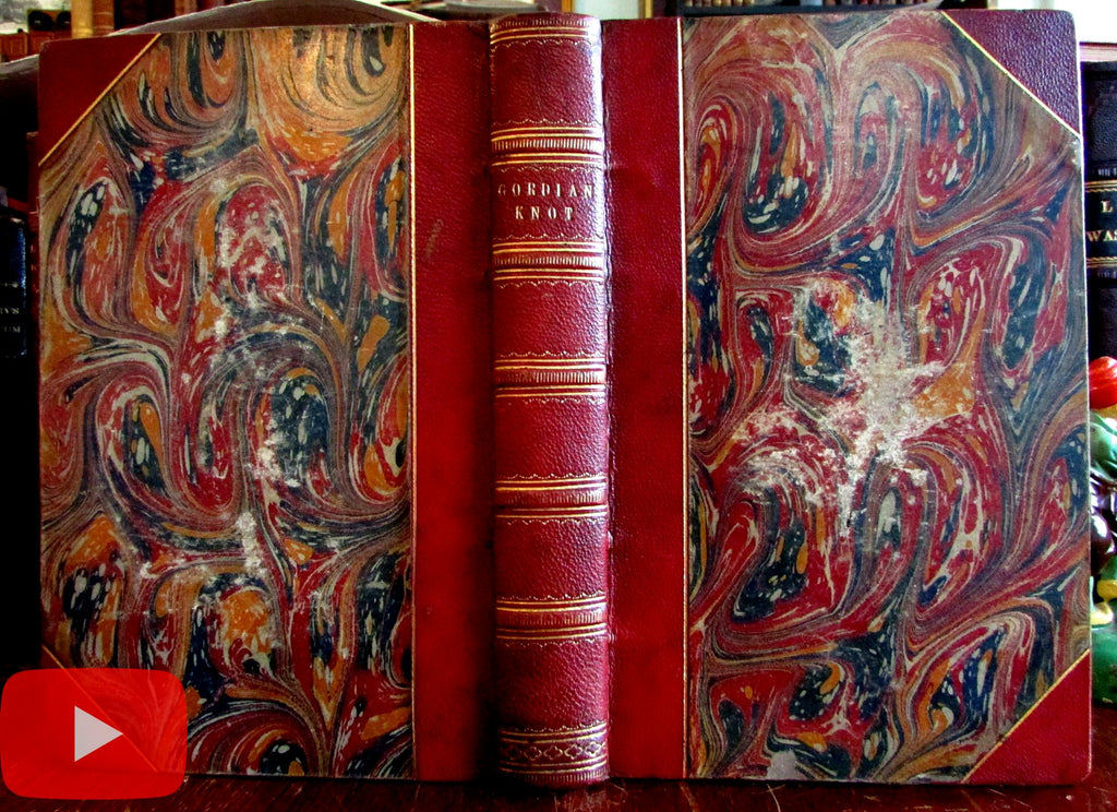 John Tenniel Illustrated book 1860 Gordian Knot gilt leather book
