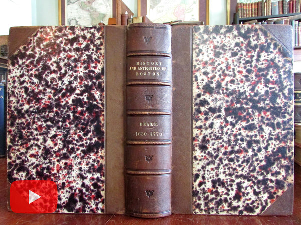 History of Boston Massachusetts 1856 Drake massive work w/ views & prints