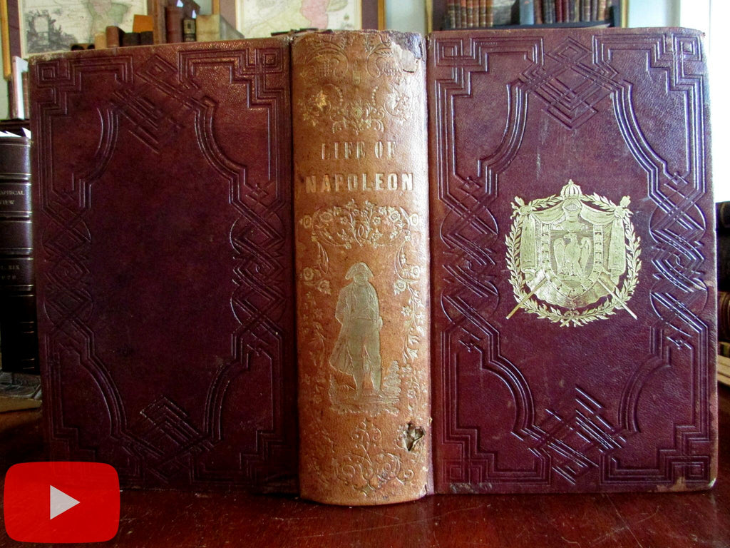 Napoleon Life Illustrated 1853 pictorial leather book hand colored plates military