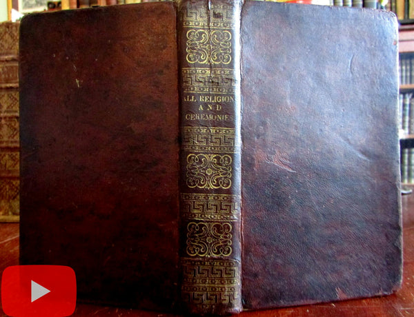 World Religions 1824 Pagan Nations illustrated leather book superstitions ceremonies