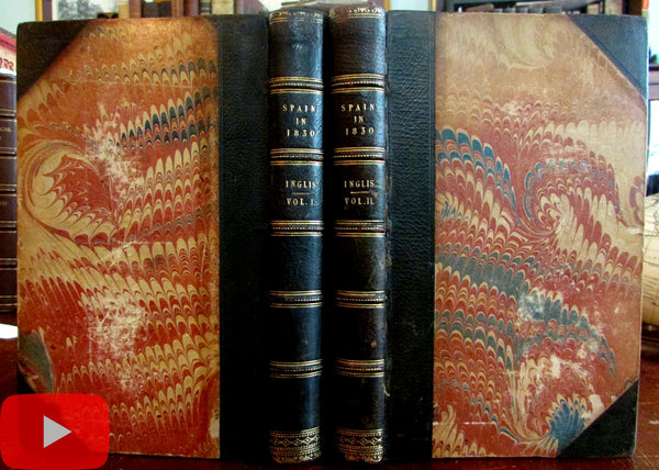 Spain in 1830 by Inglis 1837 lovely 2 volume set books early green leather bindings
