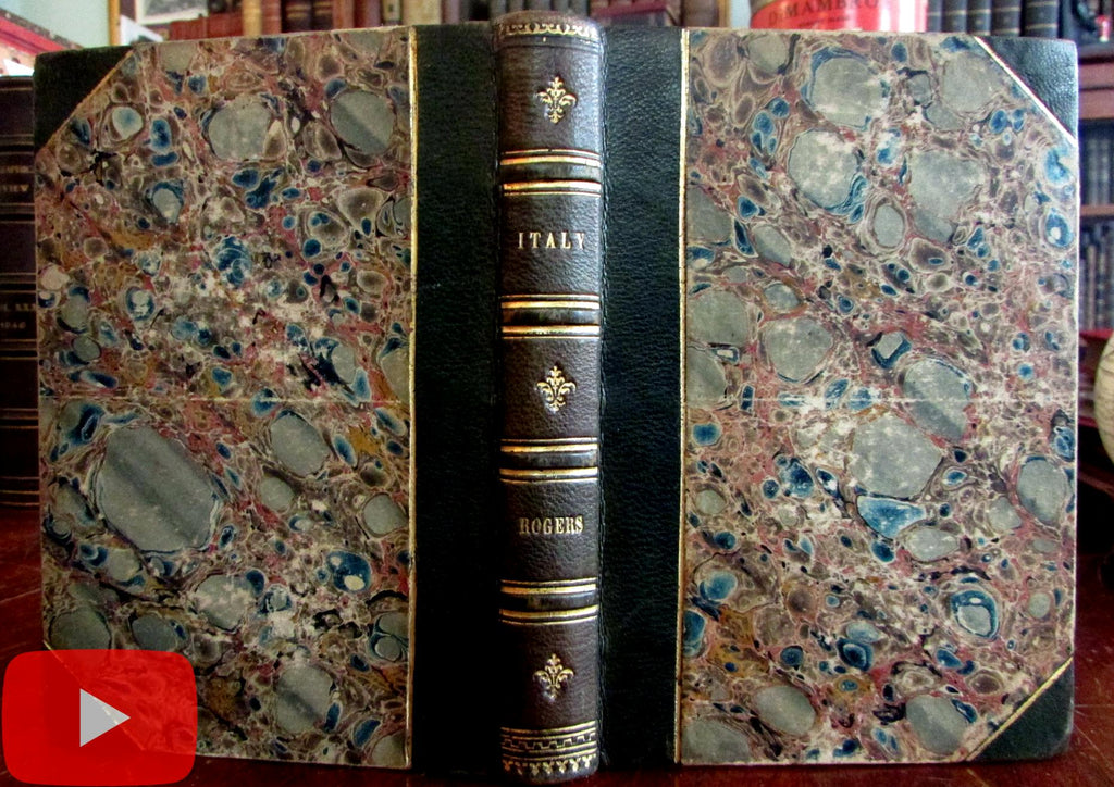 Italy by Samuel Rogers 1840 illustrated pocket leather book Baudry 75 woodcuts