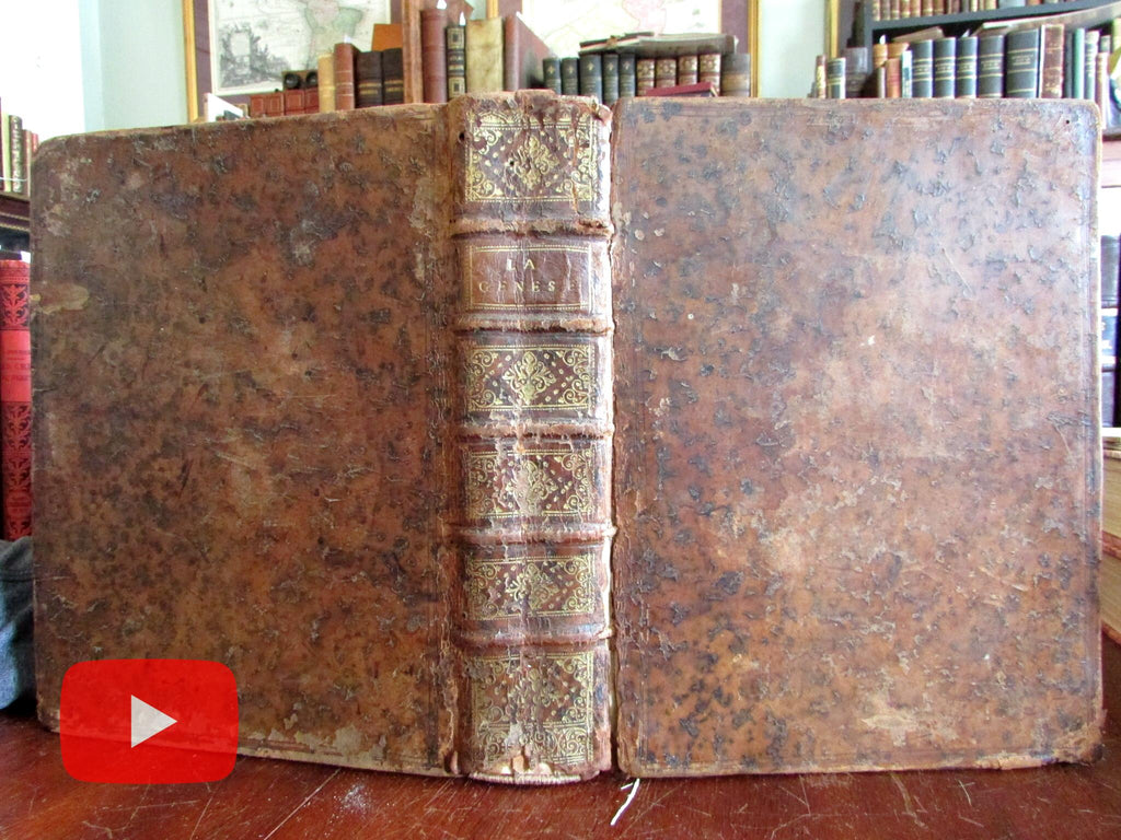 Bible Commentary Genesis 1715 by Augustin Calmet large leather book