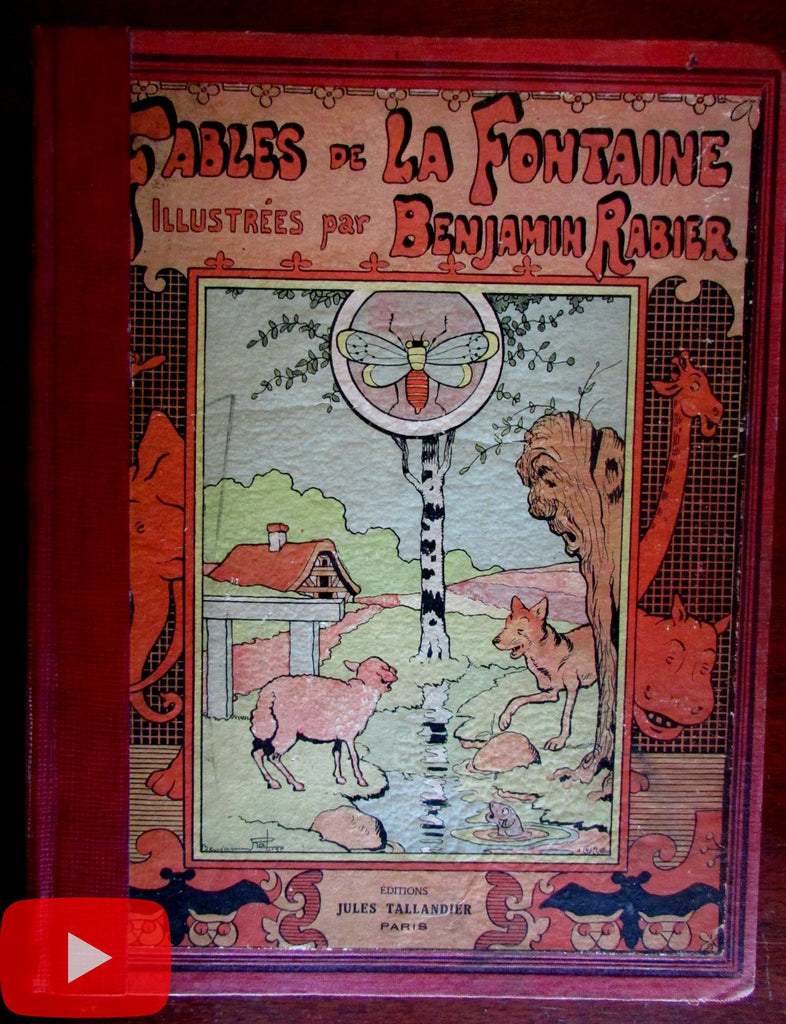 Fables of La Fontaine c.1906 Benjamin Rabier color illustrated French book Tallandier