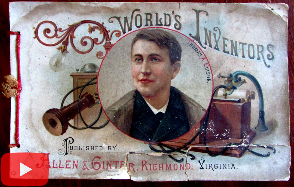 World's Inventors 1880's Allen & Ginter Tobacco Co. promotional card booklet