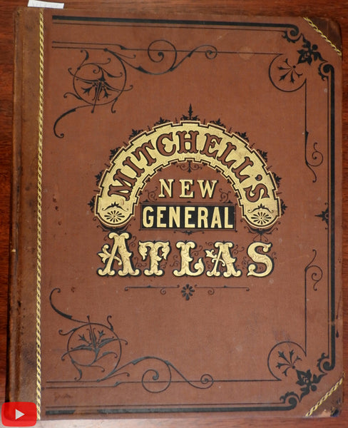 Mitchell's New General Atlas 1877 Bradley Garretson lovely complete w/ 83 maps
