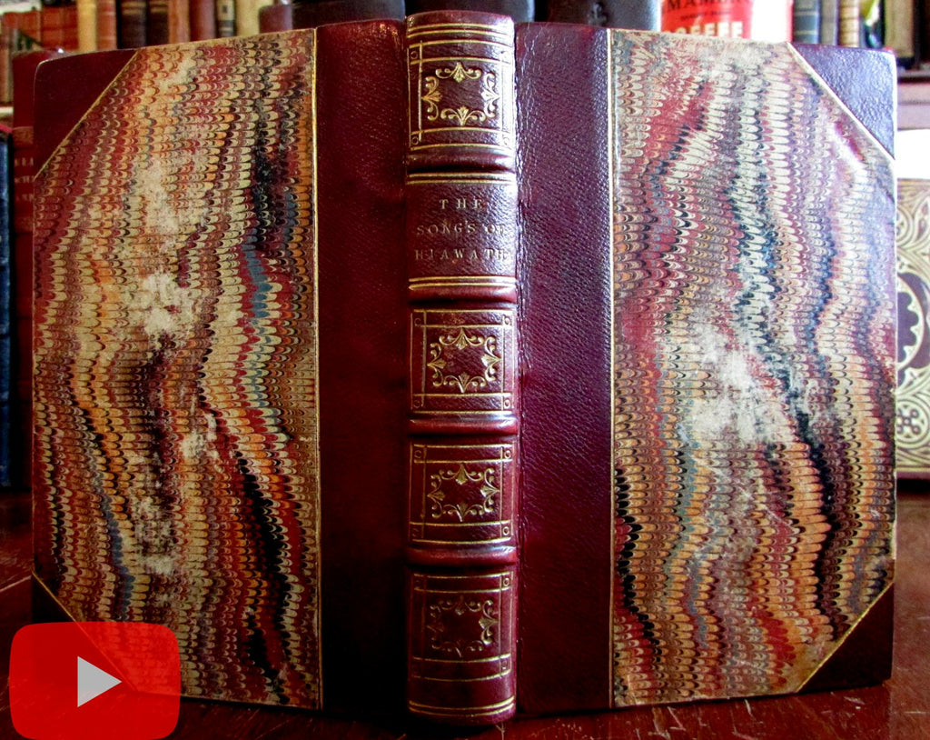 Emerson English Traits Longfellow Song of Hiawatha 1856 rare book leather Routledge